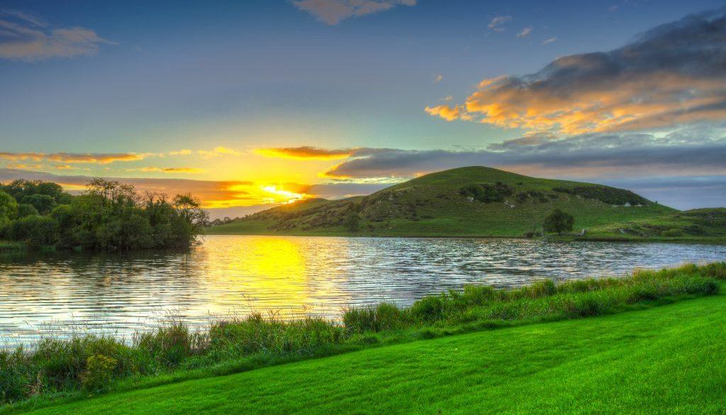 Idyllic sunset scenery at Lough Gur lake in Ireland