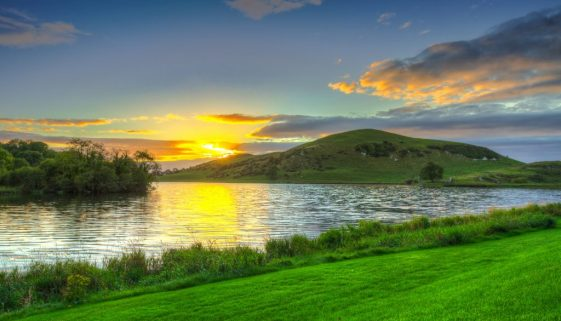 Idyllic sunset scenery at Lough Gur lake in Ireland